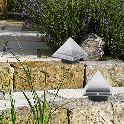 EASYmaxx Solar-Leuchte Pyramide 2er-Set 1,2V- Tageslichtsensor- integrierte Solarpanels