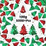 Phogary 100g / 5000 + Pezzi Coriandoli di Natale - Alberi e Punti di Natale in Rilievo Coriandoli della Tabella Mixed Luminosa Festa di Natale Set di Decorazioni