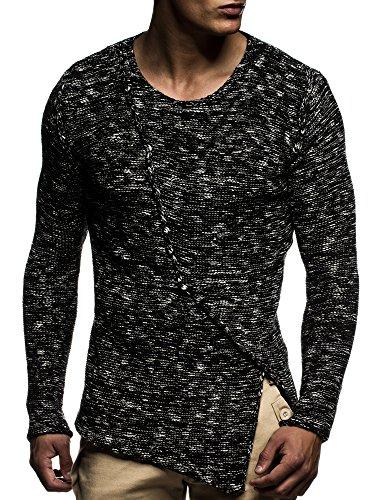 LEIF NELSON Herren Pullover Strickpullover Hoodie Basic Rundhals Crew Neck Sweatshirt langarm Sweater Feinstrick LN20710 Schwarz