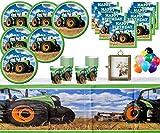 Traktor Zeit Geburtstag Party Supplies Kinder Party Pack 16 - Traktor Party Teller Tassen Servietten 2 Tischdecken mit kostenlosen Foto Frame & Balloons