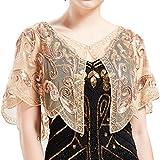 ArtiDeco 1920er Jahre Retro Schal Umschlagtücher für Abendkleider Stola für Hochzeit Party Gatsby Kostüm Accessoires (Aprikose)