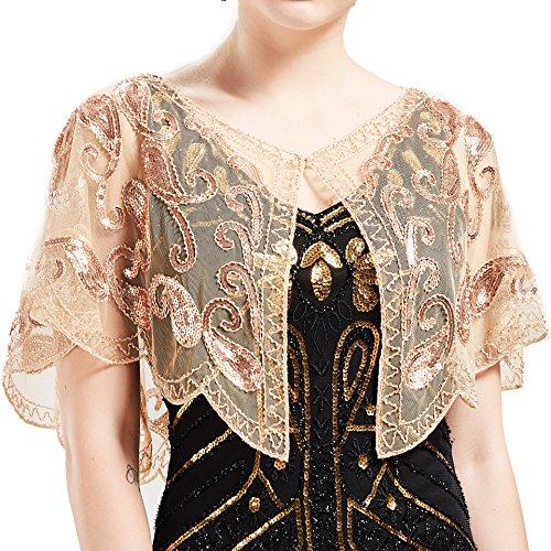 e Retro Schal Umschlagtücher für Abendkleider Stola für Hochzeit Party Gatsby Kostüm Accessoires (Aprikose) ()