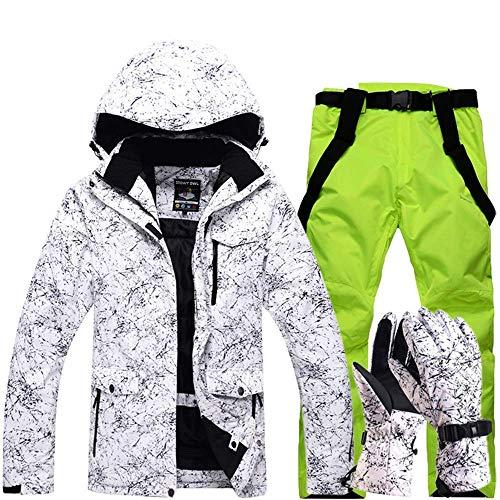 FuweiEncore Hombres, Damas, Parejas Chaquetas de esquí Impresas a Prueba de Viento, a Prueba de Viento Pantalones de esquí Conjunto Chaqueta de Snow Coat (Color : Fluorescent Green, tamaño : XL)