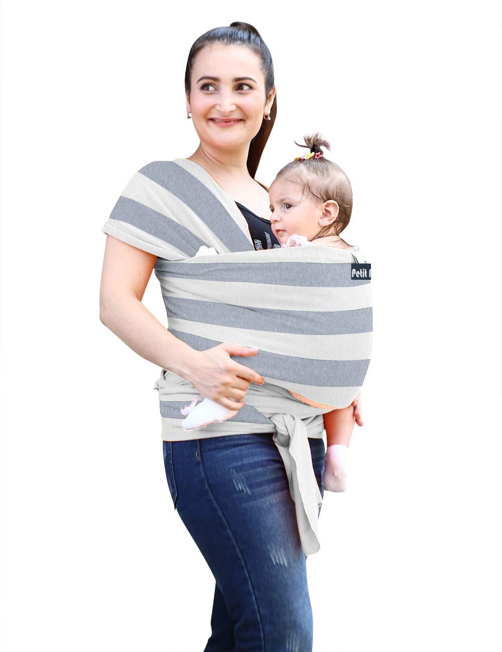 Baby Wrap Carrier Sling + Free Matching Hat   Striped Grey, Ideal Gift   Soft & Cozy for All Seasons   New Born, Infant & Toddlers.Order Two get 20% Discount  BB DolPhin