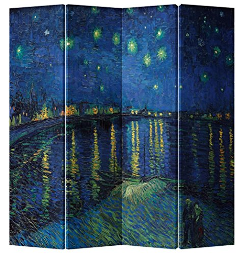 Fine Asianliving - Pantalla Plegable de 4 Paneles (180 x 160 cm), diseño Oriental asiático Estilo japonés 428