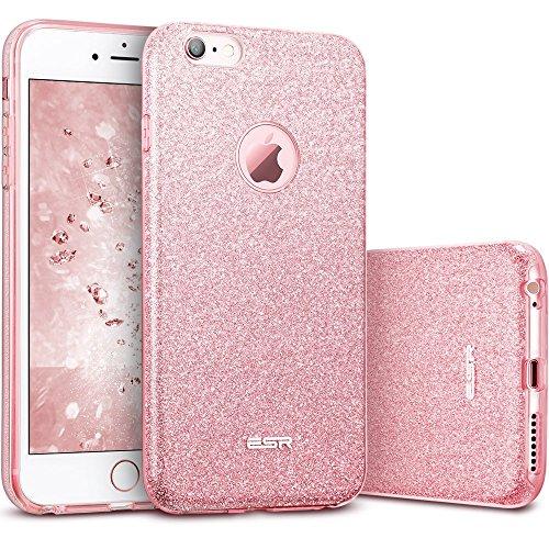 iPhone 6 Plus / 6S Plus Hülle (5,5 Zoll), ESR® Glitzer Schutzhülle [Weiche TPU Abdeckung + Glitzer Farbe Make-up-Schicht + PP innere Schicht] [Drei in Einem] Hülle für iPhone 6 Plus/6S Plus (Rosygold)