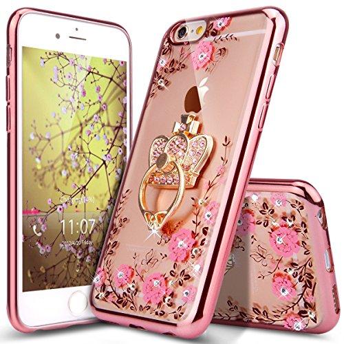Kompatibel mit iPhone 6 Hülle,iPhone 6S Hülle,Glitzer Kristall Strass Diamant Blumen Überzug TPU Silikon Durchsichtig Schutzhülle Handyhülle Schale Etui Rose Gold Rosa Blumen mit Krone Ring-Ständer