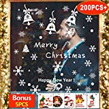 Window Stickers, 195Pcs Snowflake Static Reusable PVC Window Stickers with 5 Pcs Santa and Snowmen Christmas Festive Window Clings for Christmas Window Display DIY Decoration