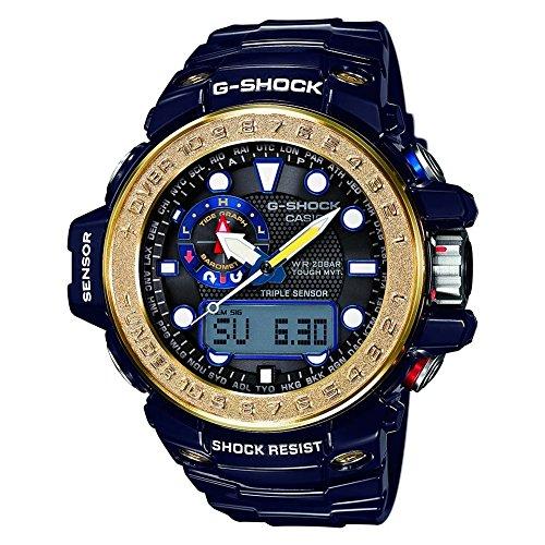 Casio Mens Multi Zifferblatt Solar Uhr mit Edelstahl Armband GWN-1000F-2AER (Triple Sensor Watch)