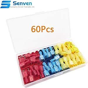 6Pcs Jaune Senven 50Pcs Terminal de connecteur de connecteur Rapide de Fil de Verrouillage /écossais connecteur de Fil 22Pcs Rouge connecteur de Branche de connecteur Rapide 22Pcs Bleu
