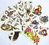 Spestyle 10pcs / package Tattoo-Aufkleber für Halloween-Urlaub verschiedenen Ausführungen einschließlich verschiedener Tiere / Adler / Tiger / Spinnen / Skorpione / Drachen / Cross / Flügel / Phönixe mit Blumen / Schädel // etc.