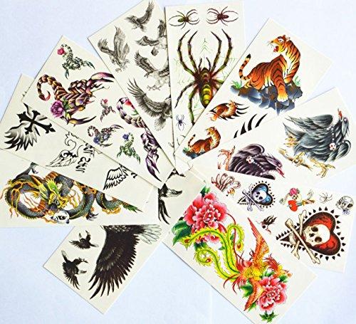 kage Tattoo-Aufkleber für Halloween-Urlaub verschiedenen Ausführungen einschließlich verschiedener Tiere / Adler / Tiger / Spinnen / Skorpione / Drachen / Cross / Flügel / Phönixe mit Blumen / Schädel // etc. ()
