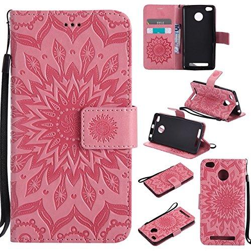 Pour les cas de protection de téléphone cellulaire Pour Xiaomi Redmi 3 / 3S / 3 Pro Case, étui de protection pour lanière en cuir avec rabat de portefeuille en cuir PU avec impression de fleur de sole