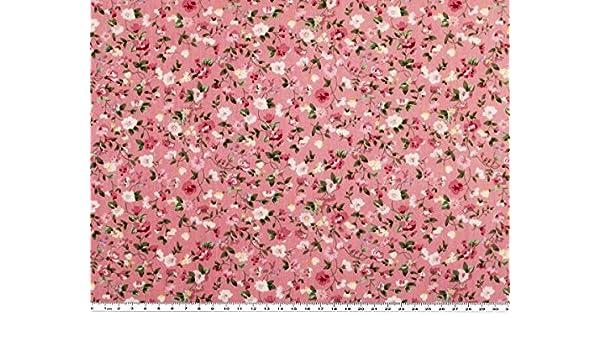 145cm Baumwoll-Popeline pink-weiß Blumen