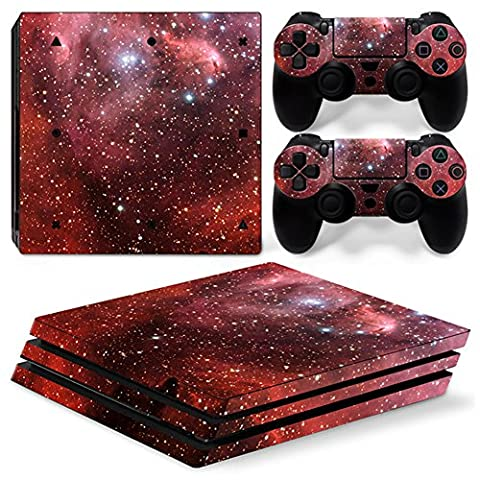 Morbuy PS4 Pro Skin Vinyl Autocollant Sticker Decal pour Playstation 4 Pro console and 2 Dualshock Manette Set (Sky Red)