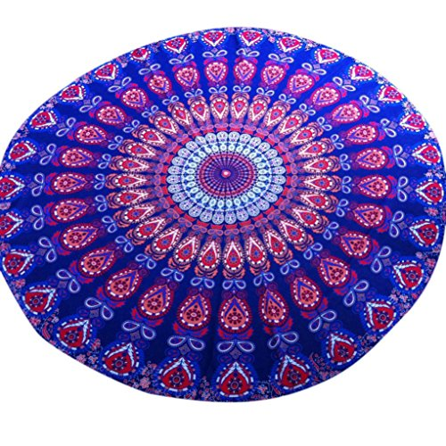 Transer ® Mousseline plage ronde Piscine d'été Accueil Douche Serviette Blanket Table Cloth Tapis de yoga Multicolor (Multicolor, 150)