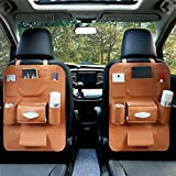 #2: Allextreme Pu Leather Car Auto Seat Back Multi Pocket Organizer And Ipad Mini Holder Backseat Organizer ,(Pack Of 1 - Tan)