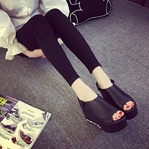 Kaiki Frauen Sandalen Weibliche Keil Plattform Schuhe Elegante High Heel Sandalen Black