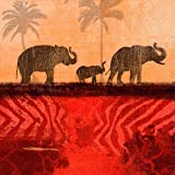 20 Servietten Elefanten Marsch rot-braun/Tiere/Afrika 33x33cm