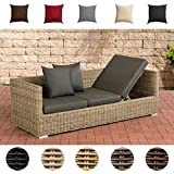 CLP Poly-Rattan Lounge-Sofa Solano 5 mm, ALU-Gestell, 3 er Sofa/Sonnenliege Rattanfarbe: Natura, Kissenfarbe: Anthrazit