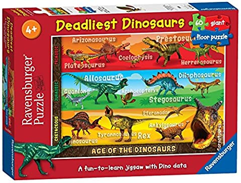Ravensburger 5393 Deadliest Dinosaurs Giant Floor Jigsaw Puzzle - 60 Pieces