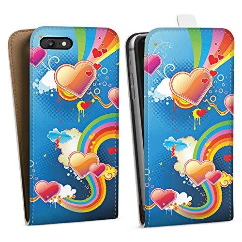 Apple iPhone X Silikon Hülle Case Schutzhülle Herz Love Regenbogen Bunt Downflip Tasche weiß