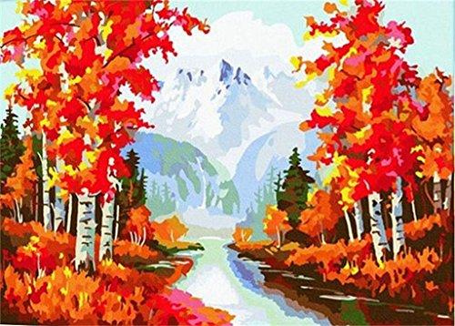 PaintingStudio arbres erable rouge sur la riviere deux Peinture a l'huile de bricolage de c?te par les images Kit Numero 16 x 20 pouces (Encadre)