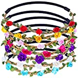 #9: Chronex Multicolor Flower Headband Crown with Adjustable Elastic Ribbon (Pack of 2)