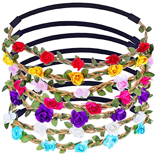 Chronex Multicolor Flower Headband Crown with Adjustable Elastic Ribbon (Pack of 2)