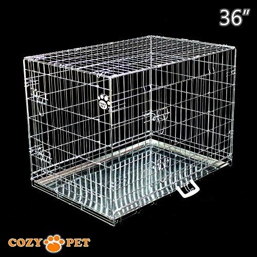 Cozy Pet Hundekäfig, Hochwertiger, Größe 92cm in Silber, 2 Türen, Metallschale, Welpenkäfig, Faltbar Käfig, Transportkäfig für Hunde, Katzen, Welpen und Haustiere, Hundekiste, Hundekäfige - Artikel DC36S