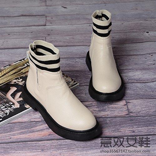 SQIAO-X- Inverno versione coreana della maglia del presidente Snow Boots Donna stivali in pelle plus piatto di velluto corto-cotone studente Scarpe Stivali di tendenza Grigio