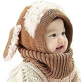 Koly® Bebé calientes del invierno de lana bufanda Coif Sombreros Caqui