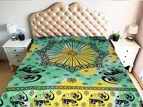 Mandala de tela color amarillo y verde elefantes y octógono con tamaño...