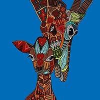 Innova fp06885vidrio de arte dibujo de jirafas en marrón sobre fondo azul 60x 60cm