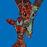Innova FP06885 Verre d'art Dessin de Girafes en Marron sur Fond Bleu 60 x 60 cm