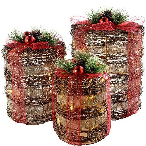 WeRChristmas Warm-weiße LED-Geschenkbox mit roter Schleife, 3er-Set, 25 cm, 20 cm, 15cm, Plastik, Mehrfarbig, 25 x 25.5 x 37 cm -