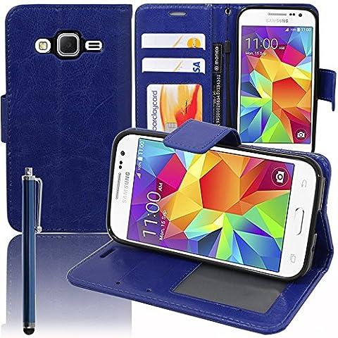 Funda carcasa cartera soporte Video libro tapa piel PU para Samsung Galaxy Core Prime SM-G360F/4G SM-G361F