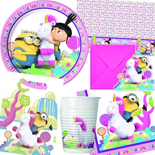 Procos/Carpeta 101-tlg. * Fluffy * Party-Set für Kindergeburtstag: Teller, Becher, Servietten, Tüten, Einladungen, Tischdecke | Minions Ich Einfach unverbesserlich (Geburtstag Minion Party-einladungen)