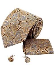 Diseño estampado multicolor bassget pañuelo de seda corbata de gemelos en caja de regalo Juego de regalo de papá Y G Y corbata de juego H6120
