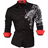 Sportrendy Hombre Casual Slim Dragon Tattoo Manga Larga Button Down Camisa Shirt JZS041