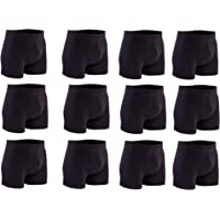 FEGER Men's Fitted Hipster Boxer Shorts Underwear for Men multipacks Briefs (Pack of 12)