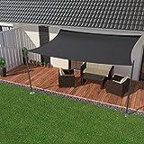 IBIZSAIL Premium Sonnensegel - Viereck (rechteckig) - 400 x 300 cm - Anthrazit - Wasserabweisend (inkl. Spannseilen)