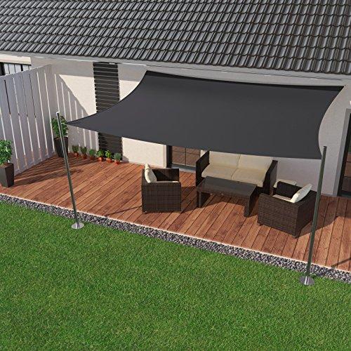 IBIZSAIL Premium Sonnensegel - Viereck (rechteckig) - 500 x 400 cm - ANTHRAZIT - wasserabweisend (inkl. Spannseilen)