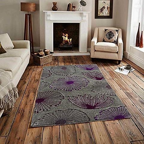 Tappeto contemporaneo con motivo floreale soffioni, colori: nero e viola - 180 cm x 270 cm (5'11