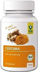 Raab Vitalfood Bio Curcuma-Tabletten, 300 Stück, Kurkuma, mit Curcumin & Piperin aus schwarzem Pfeffer, vegan, hergestellt in Deutschland, Extrakt