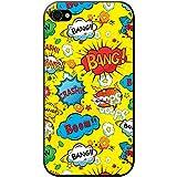 Comic Action à bulles adjectif Papier peint Coque rigide pour téléphone portable, plastique, Yellow Comic Action Ooops Wow, Apple iPhone 4S / 4