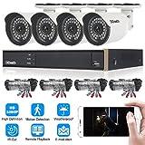 DIDseth HD-Überwachung Kamera-Sicherheitssystem 4CH 5-IN-1 DVR mit 4*1080P IP Kamera (Kabel, Indoor/Outdoor, Bewegungssensor, Nachtsicht) weiß