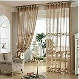 rstico de cortina fresca cortina de cortina de ventana de tela bordada de alta calidad pura
