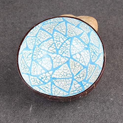Coco Naturelle Bol, bol décoratif Coquille de noix de coco Bol Vaisselle faite à la main mosaïque Peinture vintage Craft Décoration, bleu, blue, round shape