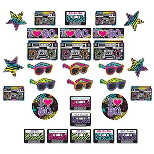 erdbeerloft - Party Dekoration Cutouts - bunter 80er-Look - 30 Stück, 29cm, 18cm und 12cm, (80er Party Looks 80er Jahre)